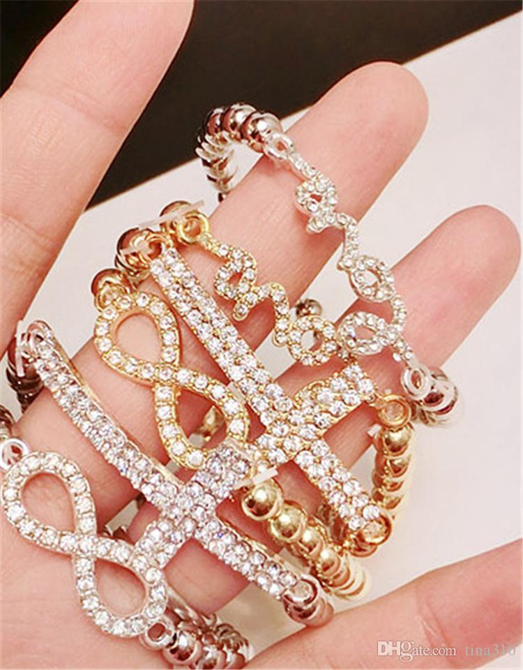 Nueva moda 6 estilos Charm Bracelets Crystal Bracelets Mujeres Pulseras Niñas Regalos de Navidad envío gratis B0953