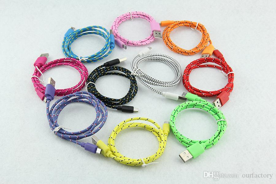 Mikro USB Kablosu 1 M 2 M 3 M Data Sync 5pin Naylon Dayanıklı Kumaş Örgülü Tel Samsung HTC LG için Renkli Şarj Dokuma Kordon 100 adet