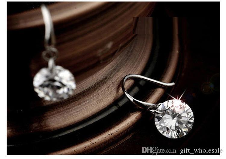 2017 new design 925 sterling swiss CZ diamond drop earrings dangle fashion jewelry beautiful wedding / engagement gift