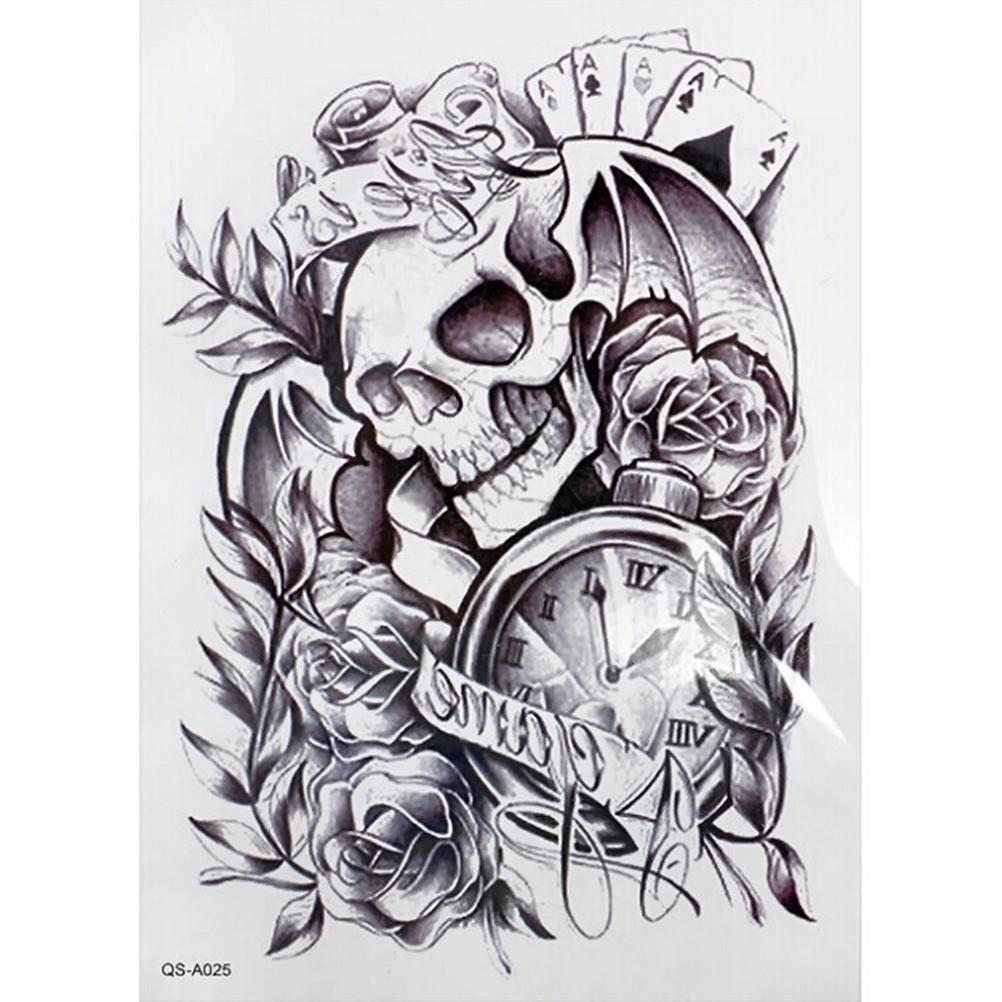 Wholesale Arm Sticker Fake Arm Sleeve Tattoo Black 3d Death Skull Shoulder Tattoos Shoulder Tattoos Temporary Waterproof Man Tattoo Customized Temporary