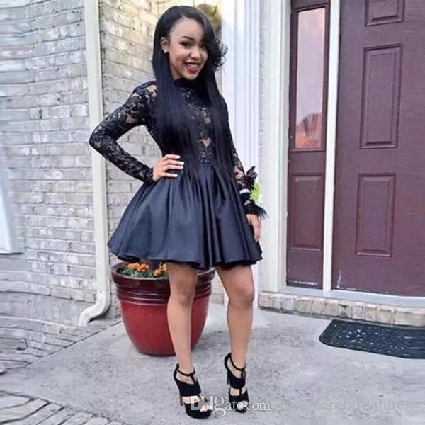 Black Girl Long Sleeve Homecoming Dresses Backless Lace Shortmini