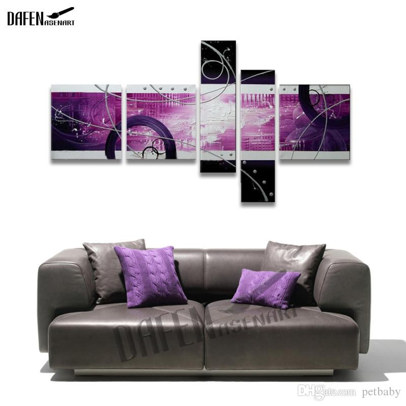 Hand Painted Circle Abstract Oil Painting Modern Canvas Wall Painting Unframed Artwork for Living Room Home Decoration