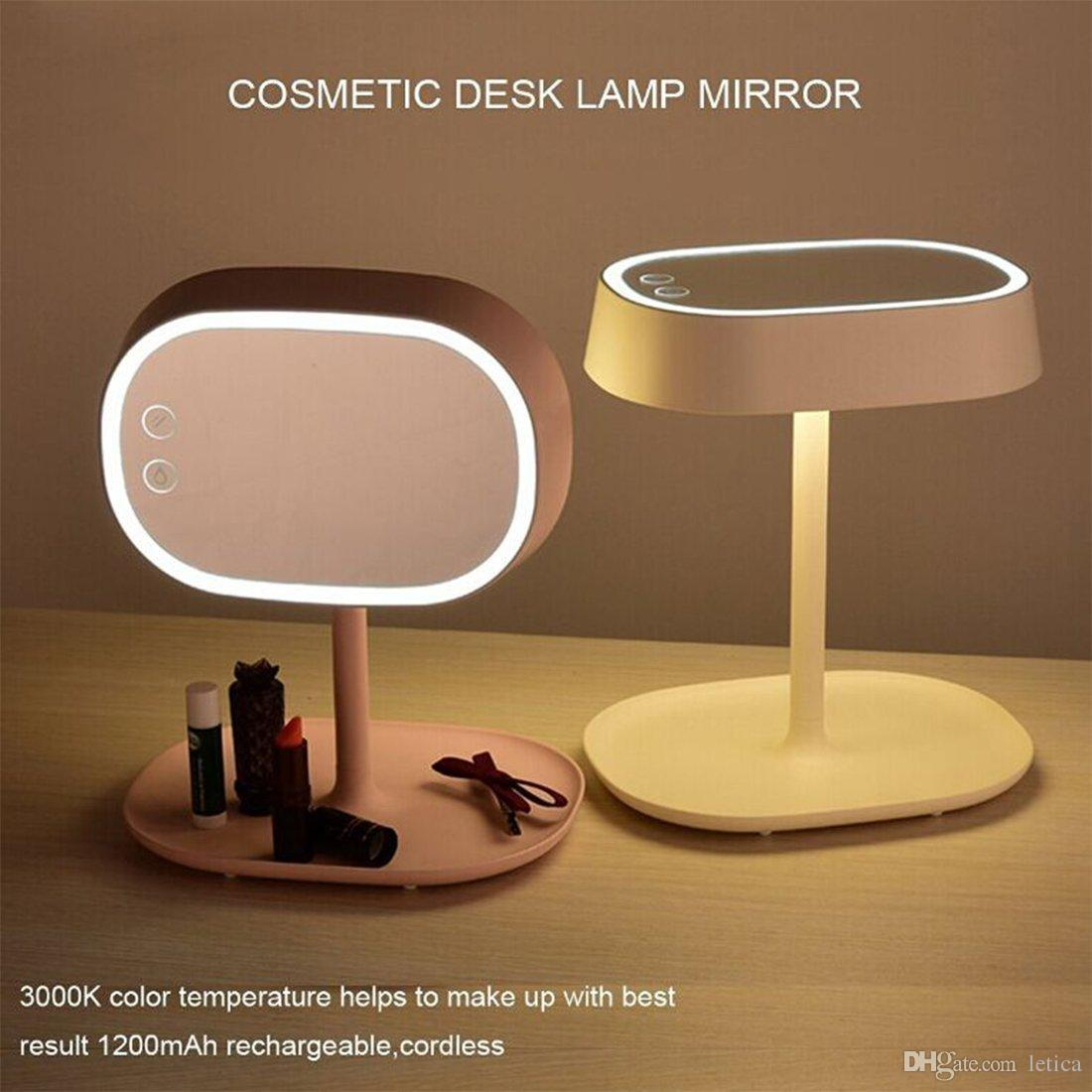 newest 2 in 1 make up mirror desk lamp touch switch led tabletop mirrors smart brightness chargable illuminated cosmetic mirror magnifying makeup mirror