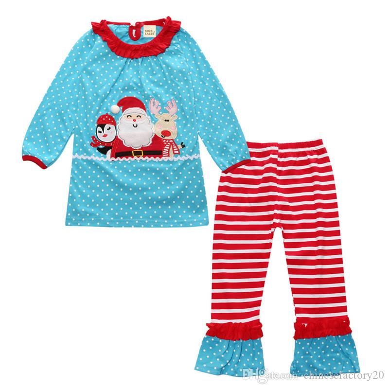 Baby Girls Fashion Autumn Bowknot Suits Christmas Stripe Lace Dot T-shirt Dress + Pants Sets Pijamas de manga larga Infant Boutique Outfits