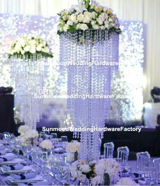Lüks Akrilik Avize Kristal Çiçek Standı Kristal Boncuklu Düğün Koridor Ayağı Düğün Dekor için