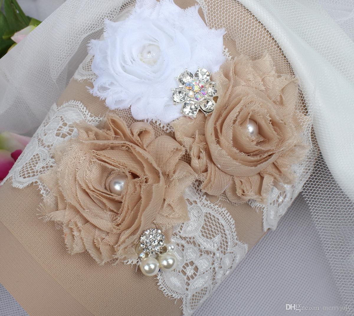 edd633c78ce In Stock White Champagne Lace Wedding Garter Handmade Flower ...
