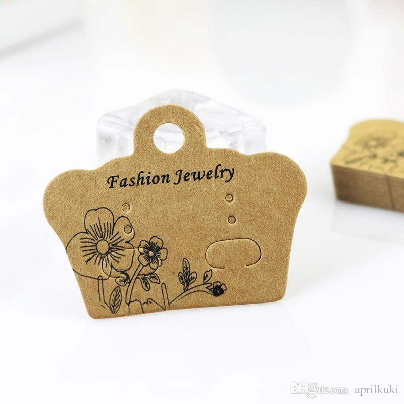 5*4cm DIY Jewelry Display Thick Kraft Paper Card Cute Stud Earring Packing Card Christmas Gifts Cards