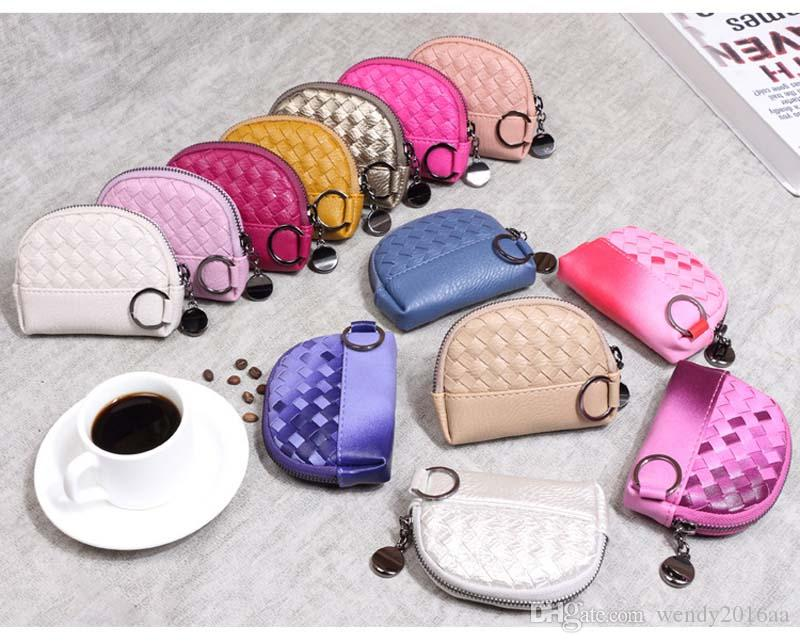 2017 New Min weave shell Coin purses Ladies Pu Candy Color short wallets keychain 12*9*2.5cm