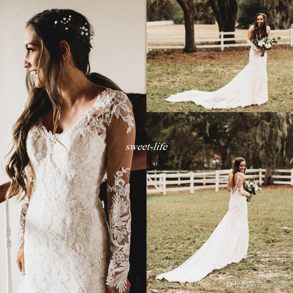 221a515a47 Sexy 2017 Spring Summer Country Style Wedding Dresses Lace Sheer Long  Sleeves Open Back Beach Bridal Gowns For Garden Wedding Plus Size Tulle Wedding  Dress ...