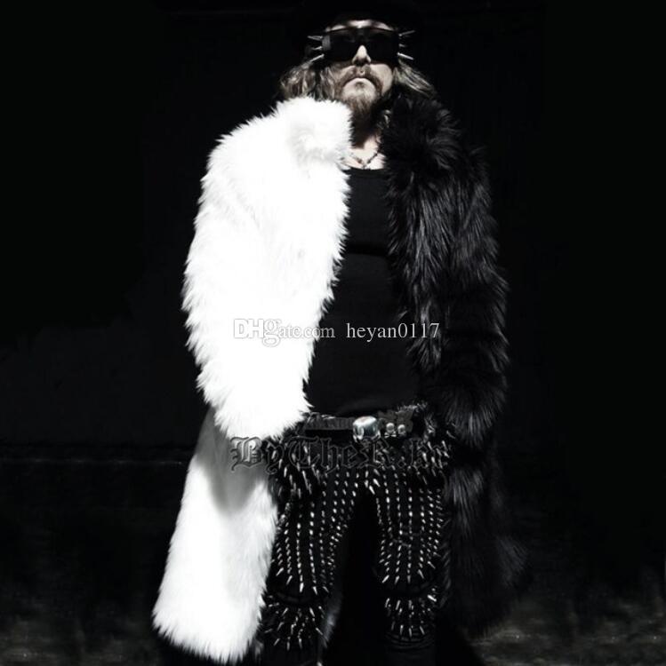 2018 Mens Long Faux Fur Coats Splice Wwinter Fox Fur Fashion ...