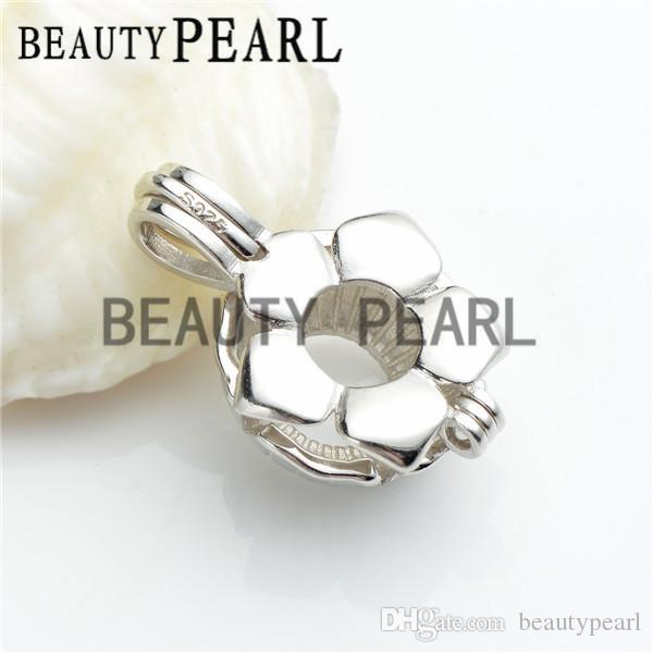 Pearl Pendant Mount Gift Flower Cage Love Wish Pearl 925 Sterling Silver Cage Lockets