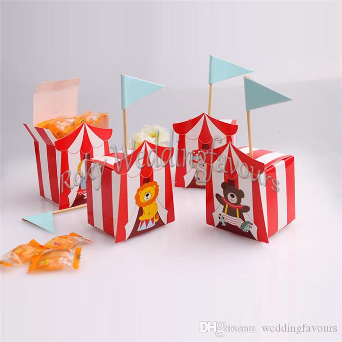 Free Shipping 50pcs Cartoon Animal Lion Elephant Wedding Favor Flags Candy Boxes Baby Shower Birthday Party Sweet Holder Kids Party Supplies