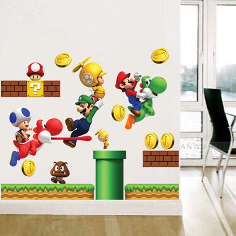 QT-0050 DIY Wand-Aufkleber Super Mario Tapeten All-Gleiches Art-Wandbild  Wasserdichte Schlafzimmer-Wand-Aufkleber-Ausgangsdekor Entfernbar