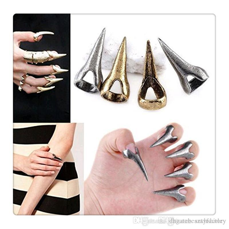 10pcs Gothic Punk Rock Style Talon Spike Finger Nail Claw Silver Plated Metal Finger Tip Ring Nail Art Decoration Women Girl Claw Rin