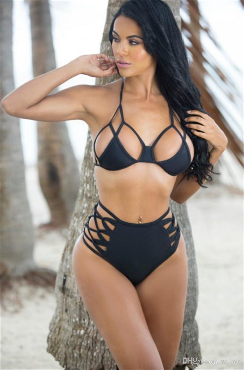 8be6351b8035 Compre Bandagem Sexy Com Tiras De Cintura Alta Bikini Bottom Oco Out Black  String Maiô Maiô Swimwear De Wilove, $10.06 | Pt.Dhgate.Com