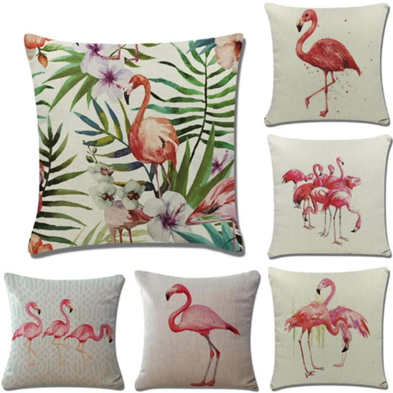 Flamingo Pillow Case Square Linen Pillowcases Home Decor Gift Simple Decorated Pillow Cases