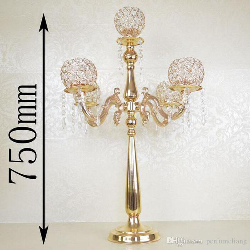 75cm Height 5-arms Metal Gold Plated Crystal Candelabras Candle Holder Wedding Party Decoration Romantic Candlelight ZA3889