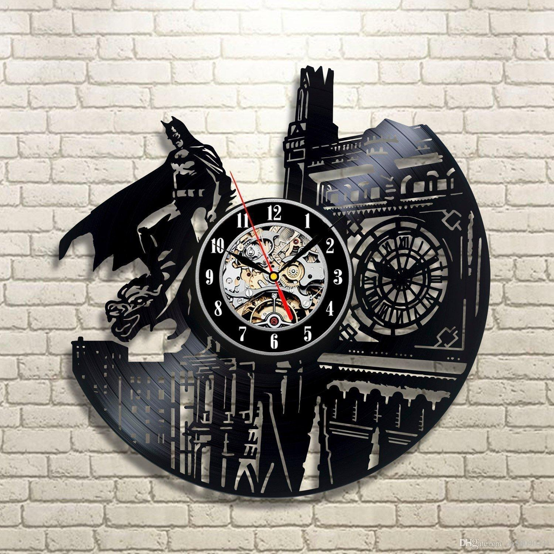 Vinyl Wall Clock Batman Dark Knight Blackdecor Home Design Decoration Party Halloween And Christmas Decorations Contemporary Kitchen
