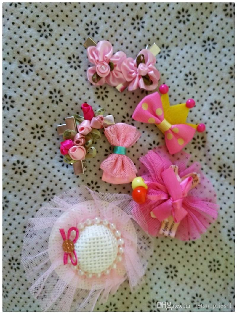 Y50 Cute Pet hair clips Lovely Puppy Dogs Cats Grooming Accessories Hairpins Brand New DIY Dog Hair Bows for Teddy