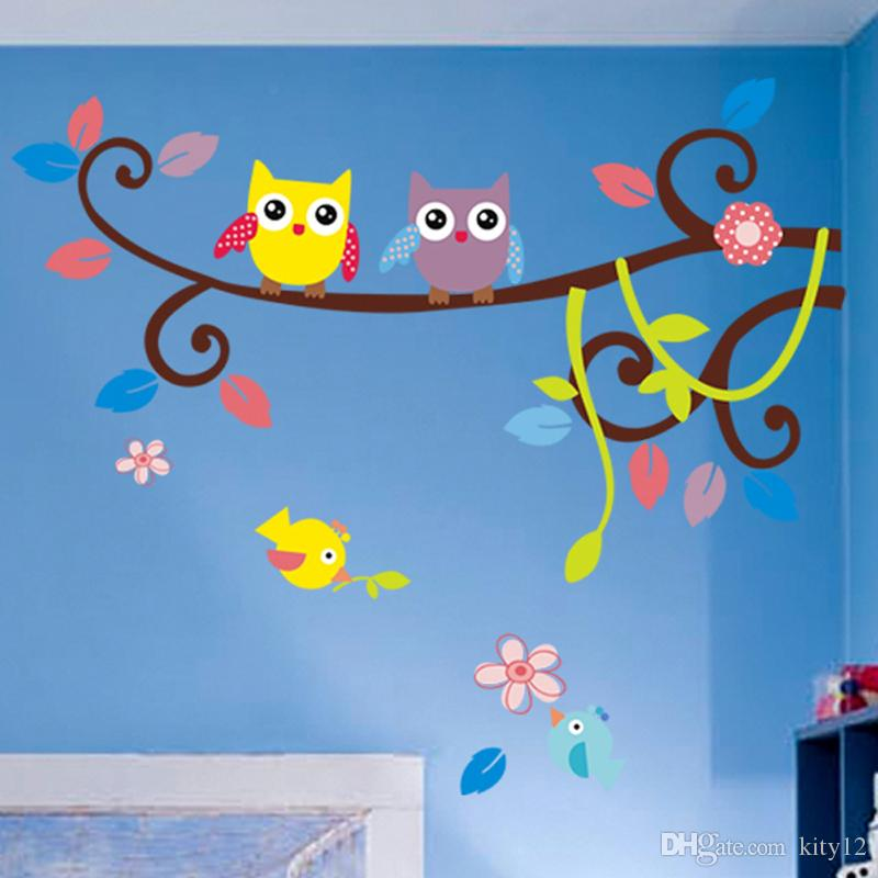 New Cute Owls Decalcomania da muro Sticker Decor Branch Wall Art Murals Poster for Kids Room Nursery Living Room Decor