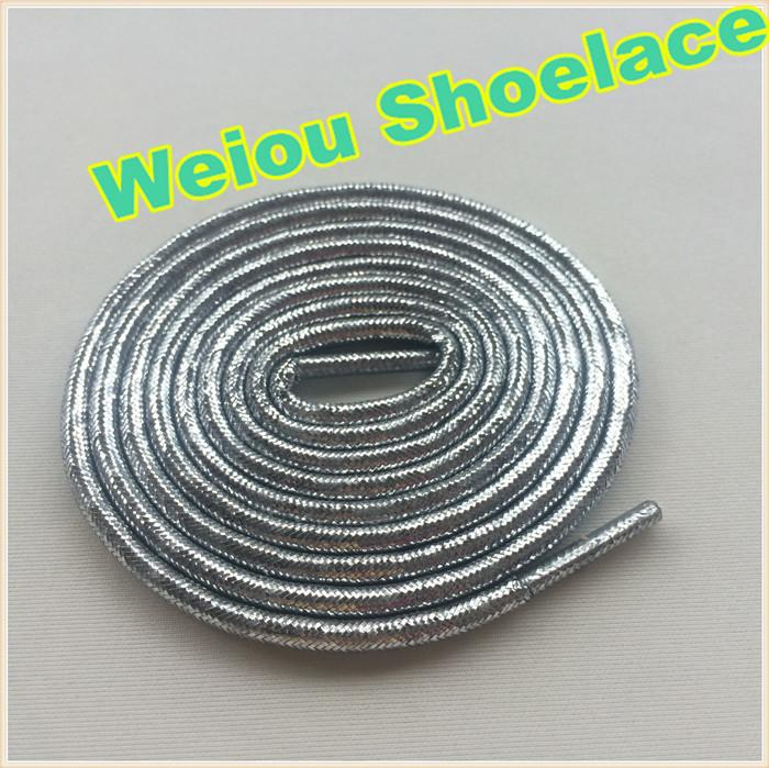 Hot Weiou Gold/Silver rope laces Flashing Shoelaces Glitter shoe laces for dresses shoes cool sneaker laces for Woman boots 120cm