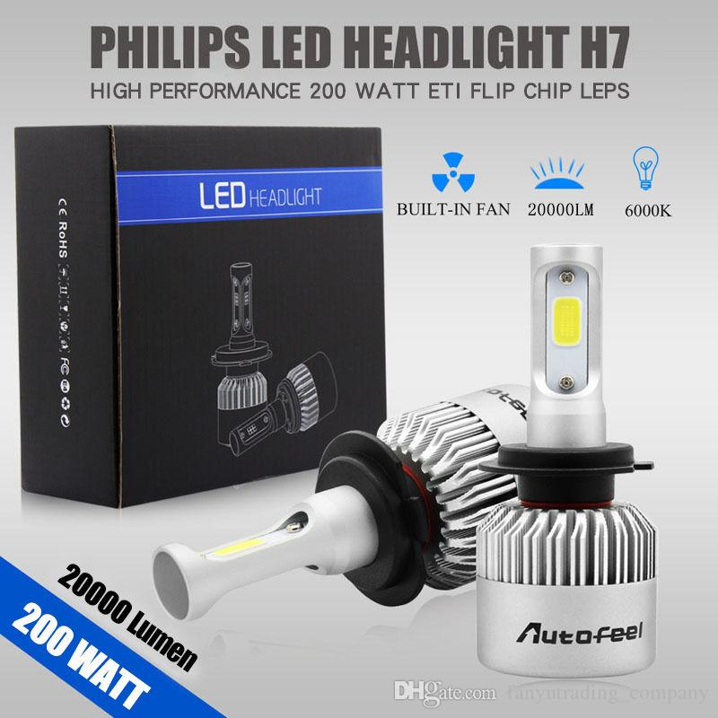 2pcs 200W 20000LM H7 Waterproof LED Lamp Headlight Kit Car Beam Bulbs 6000K White Free Shipping