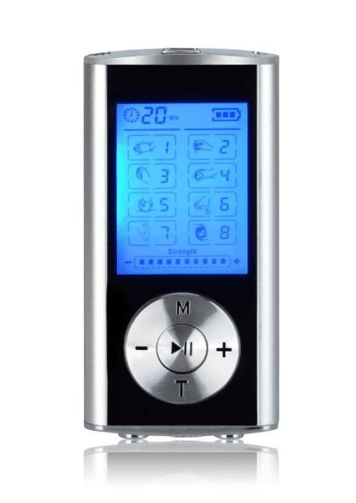 8 Modus ZEHN Einheit Mini Digital Elektronische Pulsmassagegerät Muskel Ganzkörper Akupunktur Magnetfeldtherapie Zehnmassage Silber Blau von DHL