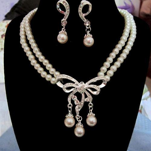 Blanco Diamante Perla Collar Pendientes Conjunto de joyas Dama de honor nupcial Joyería fina Vestidos de novia Accesorios Nuevo