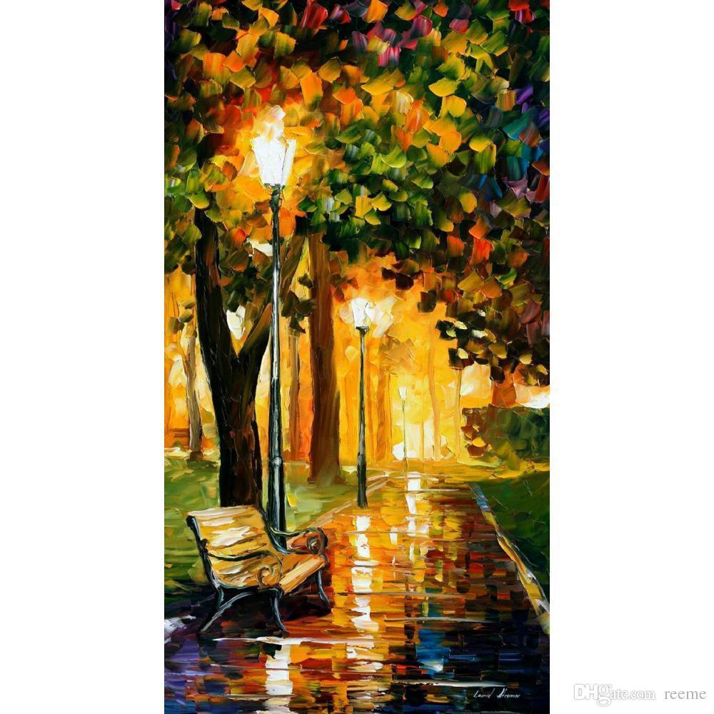 Beautiful Modern Paintings Park Lights Leonid Afremov Canvas Wall ...
