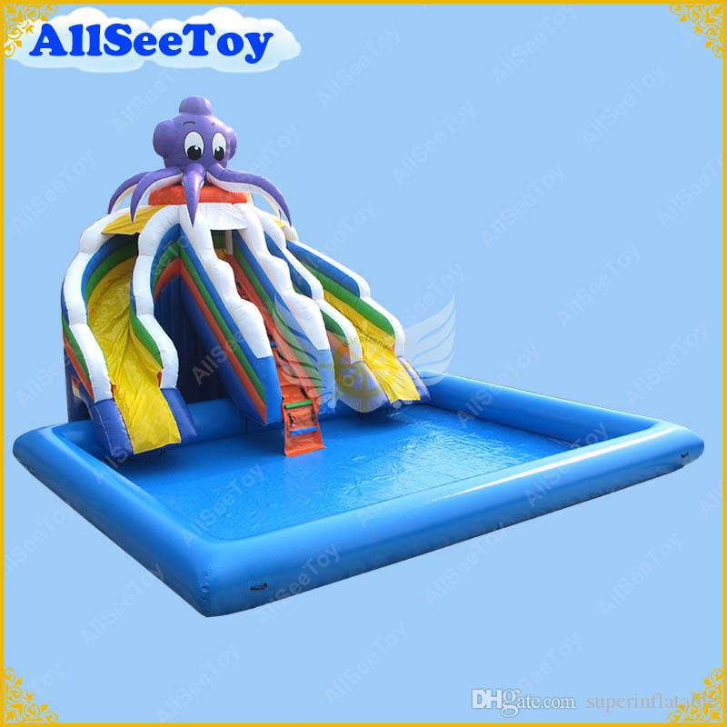 Inflatable Giant Slide: 2019 Commercial Inflatable Slide With Big Pool, Giant