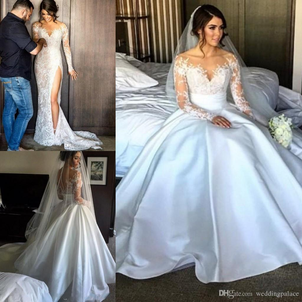 Discount 2017 long sleeve lace wedding dresses with detachable discount 2017 long sleeve lace wedding dresses with detachable skirt sheath illusion back high slit overskirts bridal wedding gowns anthropologie wedding junglespirit Choice Image