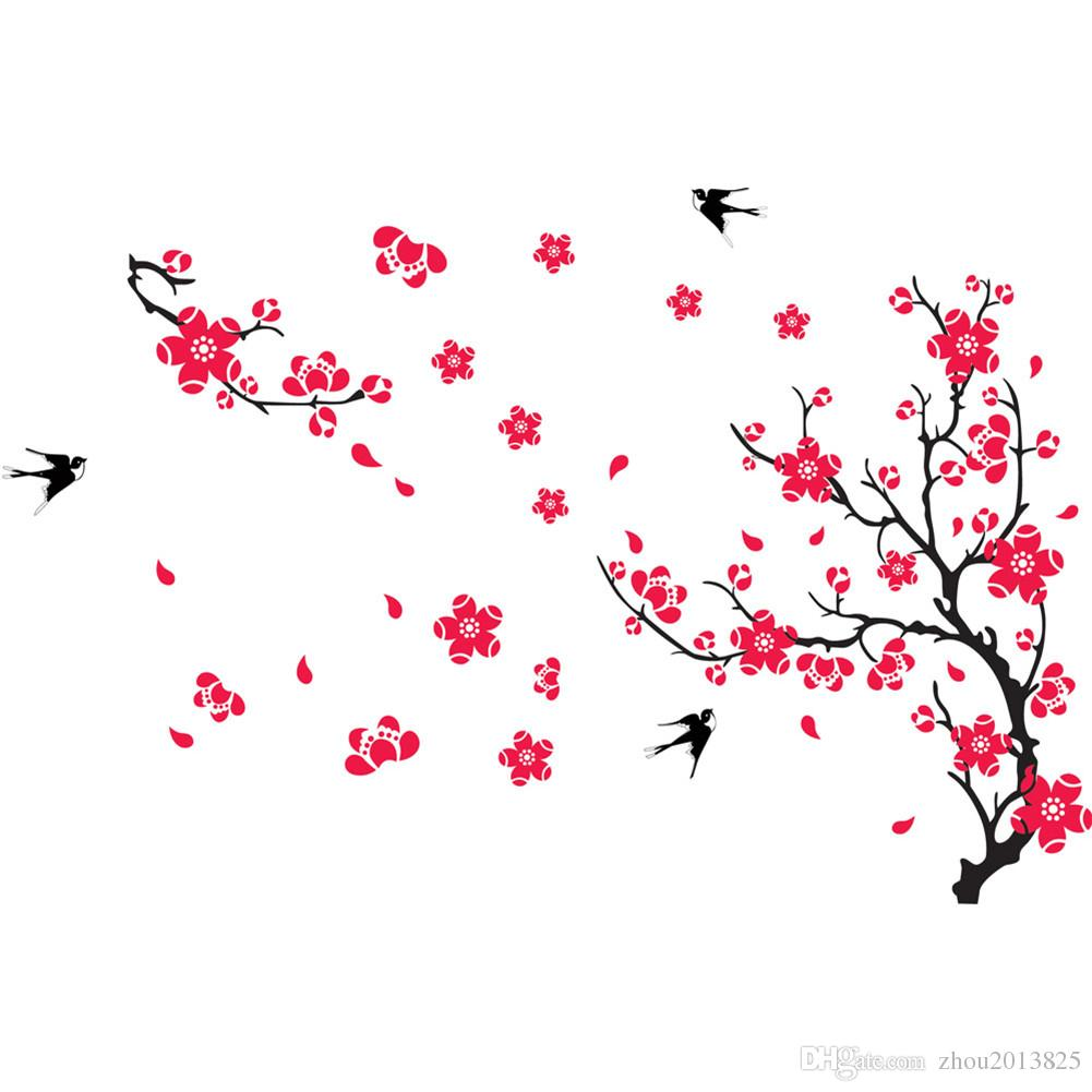Plum Blossom Prunus Mume Flowers Swallow Beautiful View Of Spring