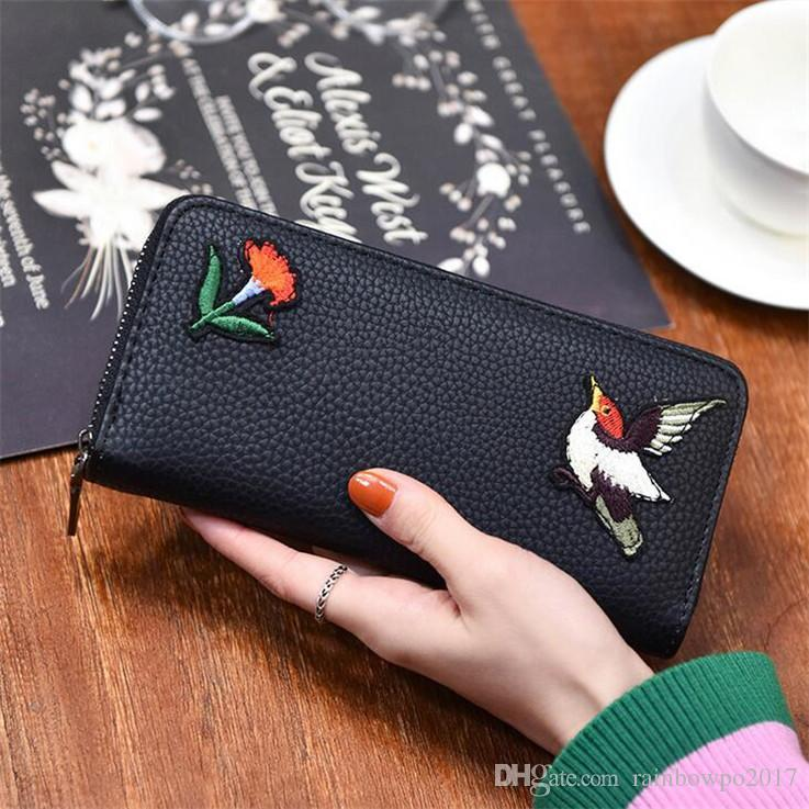 Outlet Brand New Fashion Bag Flower Embroidery Long Wallet Purse