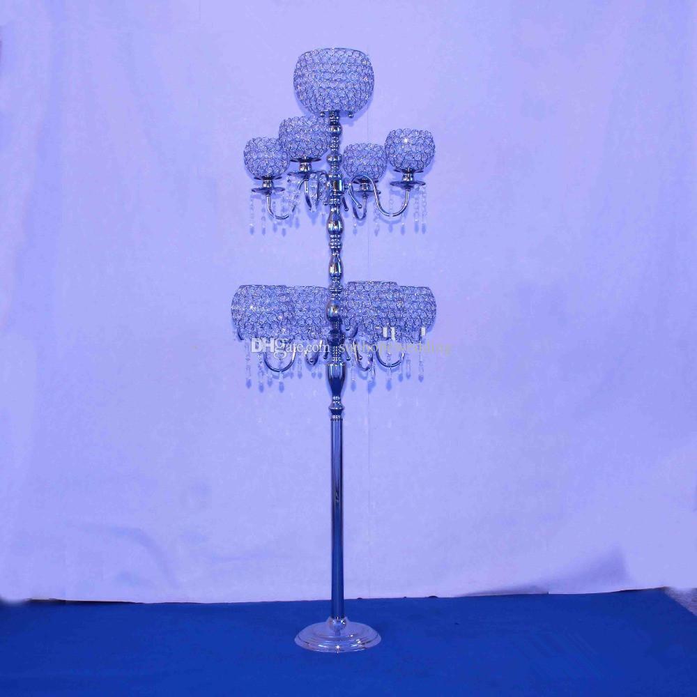 candélabres de mariage pour table de mariage candélabre en cristal avec support en verre et fleur