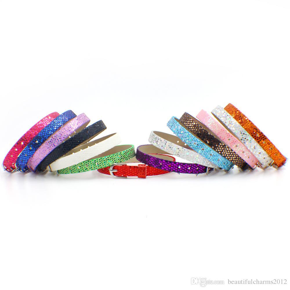 Großhandels8mm breite 210mm Länge / glänzendes PU-Leder-Armband-Armband, das für 8mm Diazeichen-diy Charme passt