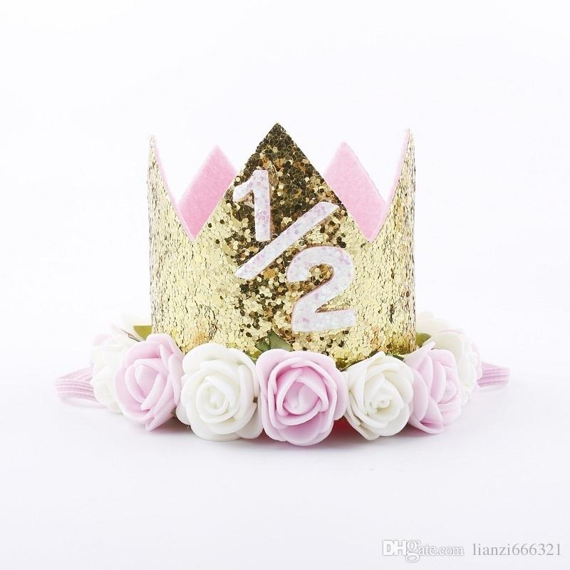 Hot New Baby 1/2 Birthday Sparkly Party Crown Artificial Pink and Creamy Rose Flowers Tiara Headband HJ147