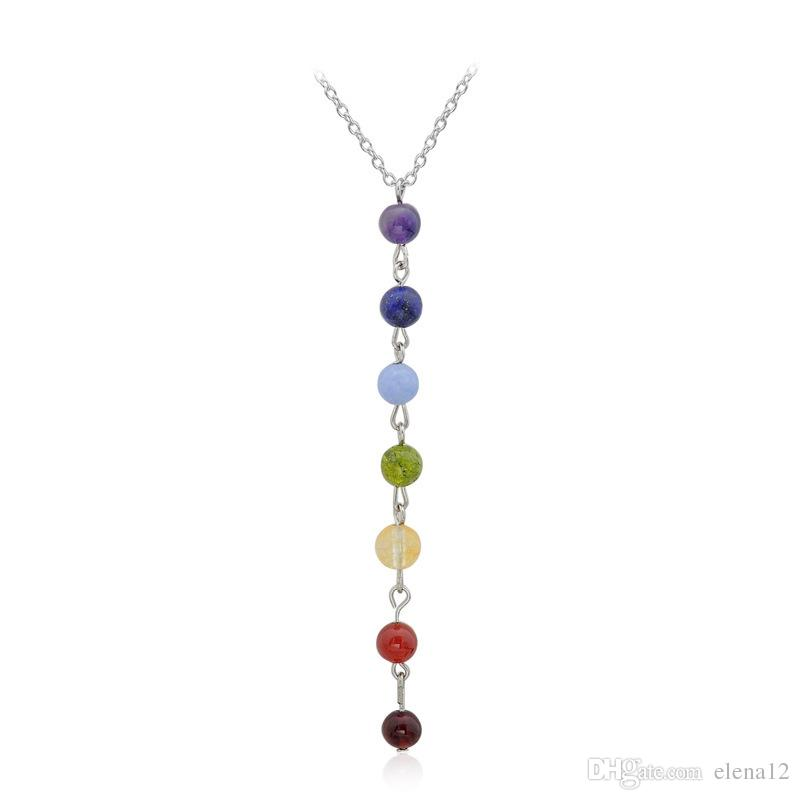 7 Yoga Chakra Stone Beads Pendant Necklace Yoga Reiki Healing Balancing Necklaces for Women Jewelry Ankh Yoga Jewelry 161782