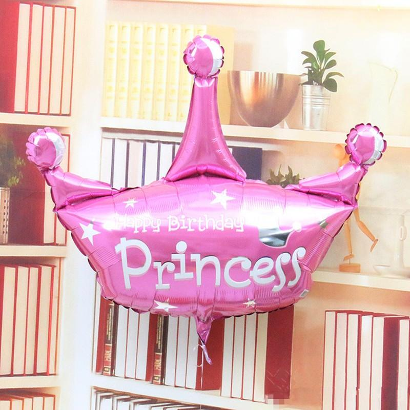 103*93cm pink and purple helium baloon princess crown foil balloons for happy birthday party decoration globos