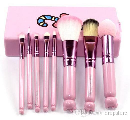 acb79f82a Hello Kitty Makeup Brush Set + Mirror Case Eyeshadow Blush Brush Kit Pink Make  Up Toiletry Beauty Appliances Set Kids Cosmetic Tools Cosmetics Makeup ...