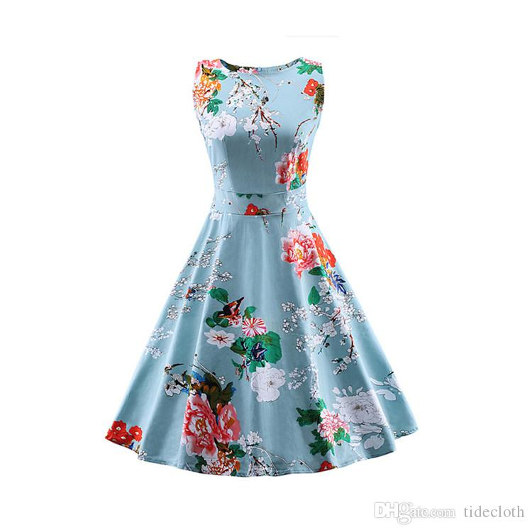 Women s Vintage Swing Rockabilly Party Dress 1950s 60s Chic Summer ... 3fa59ac030d3