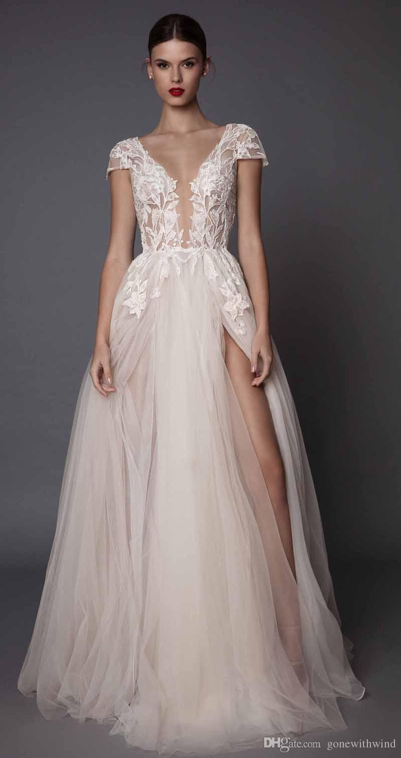 Sexy Side Slit Evening Dresses 2017 Muse Berta Bridal Cap Sleeves ...