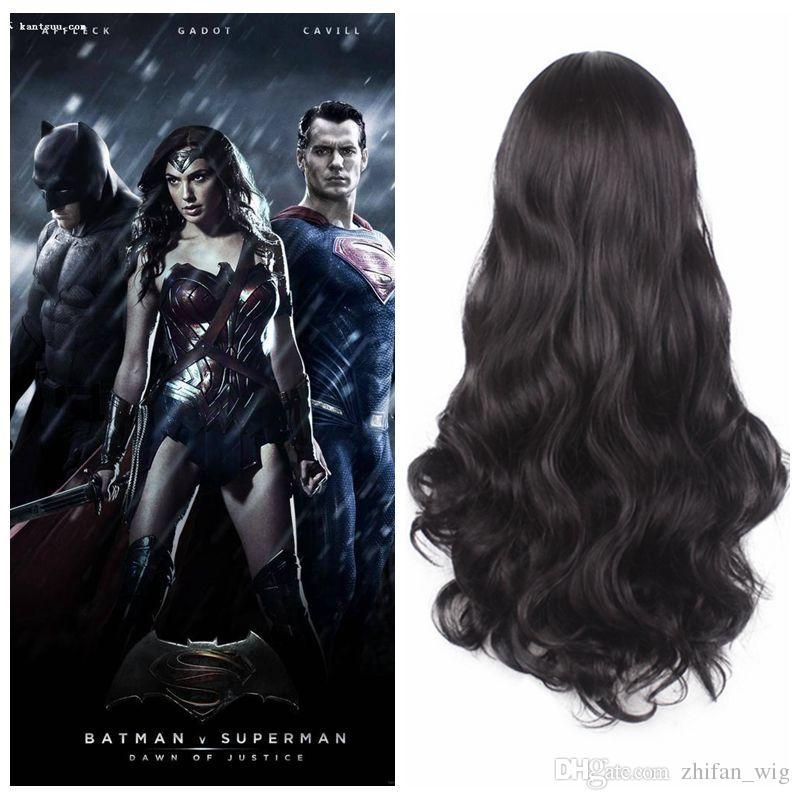 ZF Halloween Cosplay Party Perücken Wonder Woman Diana Prince 70 CM Lange Schwarze Lockige Synthetische Perücken für Frauen