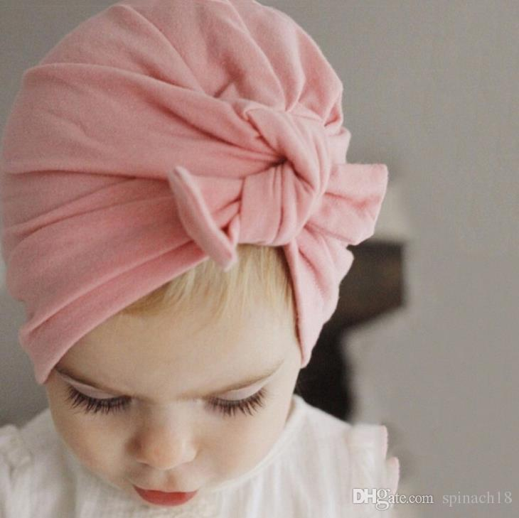 Ins Bebek Yay Şapka Tavşan Kulak Kapakları Avrupa Tarzı Türban Düğüm Headwrap Şapkalar Kız Bebek Hindistan Şapka Çocuklar Sonbahar Kış Bere