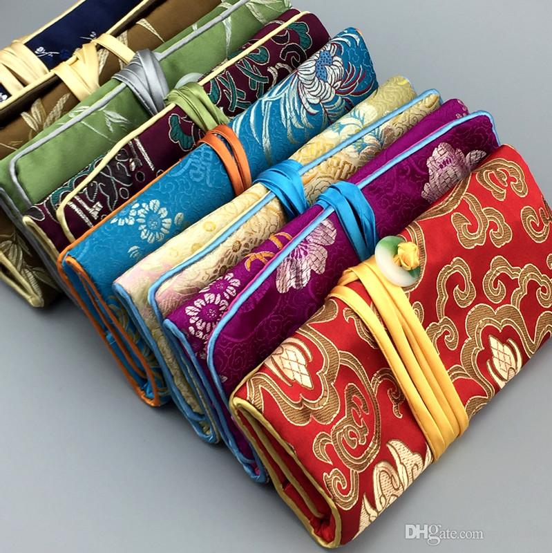Foldable Jewelry Set Travel Roll Up Bag with 3 Zipper Pocket Silk Brocade Drawstring Packaging Cosmetic Makeup Storage Pouch Clutch Purse