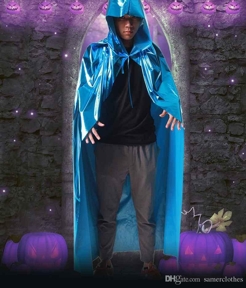 0.9m 1.2m 1.5m 1.7m Adult Children Long Cloaks Blue Halloween Hood and Capes Devils Halloween Costumes for Women Men Annual Meeting Show