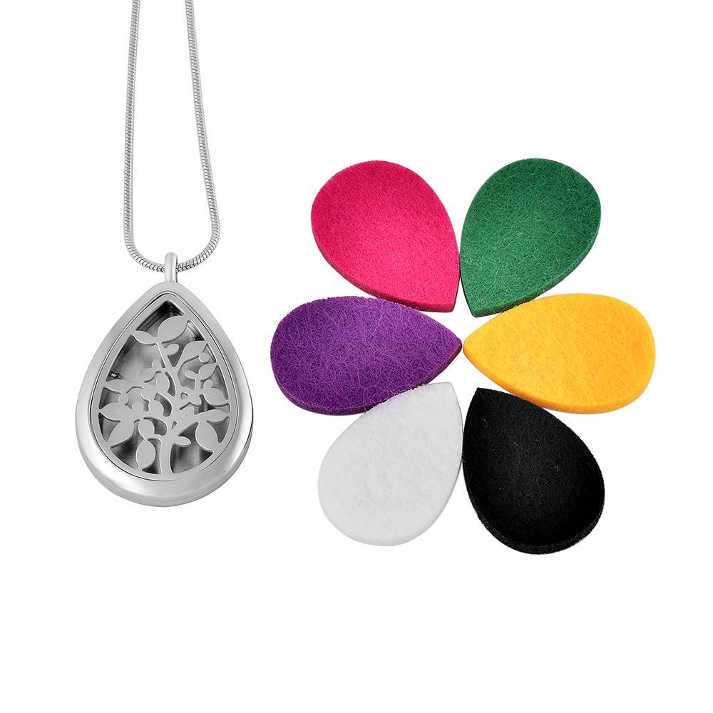 IJPD0025 Wassertropfen Edelstahl Ätherisches Öl Diffusor Medaillon Aromatherapie Blatt Gravierte Anhänger Halskette