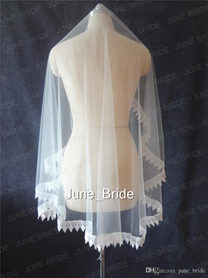 Real Photo Cheap but High Quality One Layer Lace Appliqued Edge Fingertip Bridal Veils Light Ivory Tulle Wedding Veil
