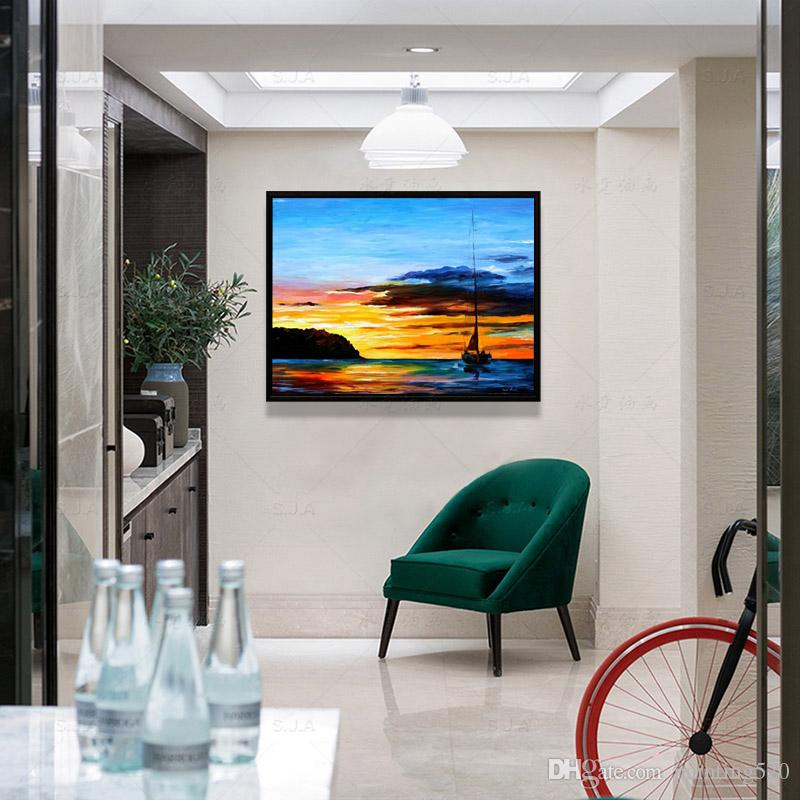 Modern living room walkway study simple decoration style sea sail canvas oil painting high quality pure hand painted knife painting JL443