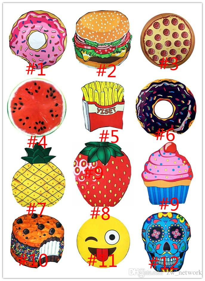8a95bfb372 Cute Food Fruit Donuts Beach Towel Round Polyster Beach Sarongs Cover  Roundie Circle Picnic Carpat Yoga Mat 150cm Skull Emoji Pizza From  Zw_network, ...