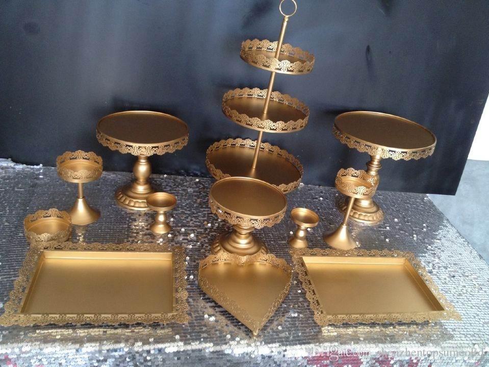Conjunto de 12 piezas soporte de la torta de oro soporte de la magdalena de la boda conjunto de decoración de la barra de caramelo de cristal herramientas para hornear conjunto